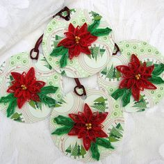 RED POINSETTIA FLOWER on Christmas Tree Paper