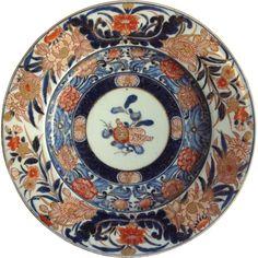 Antique Imari Flower Buds Shallow Dish 11'