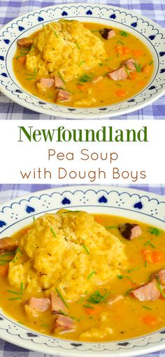 Newfoundland Pea Soup & Dough Boys - a local favourite! Traditional Newfoundland Pea Soup and Dough Boys - made with leftover ham or salt beef, it's a hearty local favourite that has warmed many a belly over the decades. Canadian Cuisine, Canadian Food, Canadian Recipes, Canadian Culture, Rock Recipes, Game Recipes, Ham Bone Soup, Newfoundland Recipes, Newfoundland And Labrador
