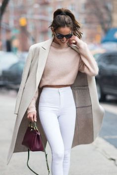 Cream ivory coat blush light pink cropped sweater white high waisted pants Cute women s fashion chic fall winter spring summer casual street style outfit inspiration ideas Outfit inspo # Mode Outfits, Winter Outfits, Fashion Outfits, Fashion Clothes, Spring Outfits, Outfits 2016, Winter Clothes, White Jeans Winter Outfit, New York Winter Outfit