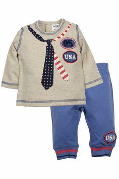Dirkje babykleding 2 delig setje beige longsleeve met blauw en stropdas USA