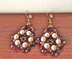 handmade beaded earring Drop dangle Garnet beaded by fatash1