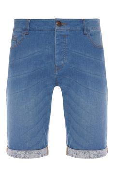 Blue Skinny Turn Up Denim Shorts