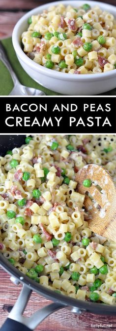 Creamy Pasta with Bacon and Peas – Delicious salty bacon and sweet delicate peas come together in this creamy pasta dish! Creamy Pasta with Bacon and Peas – Delicious salty bacon and sweet delicate peas come together in this creamy pasta dish! Easy Pasta Recipes, Dinner Recipes, Easy Meals, Cooking Recipes, Healthy Recipes, Bacon Recipes, Healthy Meals, Free Recipes, Healthy Food