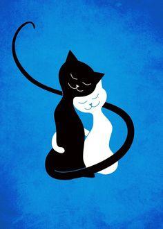 White And Black Cats In Love Art Print by borianagiormova - Süße Katzen 2020 I Love Cats, Crazy Cats, Cute Cats, Cat Hug, Dog Cat, White And Black Cat, Black Cats, Art Amour, Gatos Cats