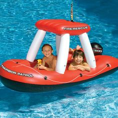 Fire Boat Squirter is different from your average car pool float in aesthetics and added features. This 2 person float is a harbor patrol fire/rescue boat with a constant supply water gun! A kids pool float that really allows their imagination to flourish Inflatable Pool Toys, Inflatable Float, Giant Inflatable, Swimming Pool Toys, Pool Games, Pool Floats, Water Toys, Water Play, Floating In Water