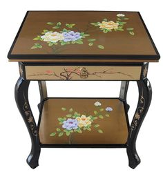 Gold Leaf Bohon Side Table with Storage World Menagerie Side Table, Table, Oriental Furniture, Furniture, Beautiful Storage, Table Furniture, Landing Decor, Side Table With Storage, Referbished Furniture