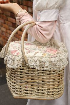 A lace edged picnic basket.