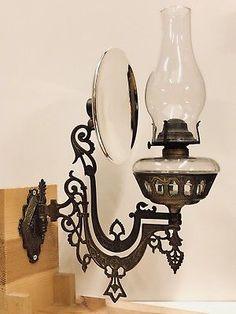 V-Rare-c-1870-80-s-B-amp-H-Brass-Plated-Cast-Iron-Wall-Bracket-Oil-Lamp-w-Reflector