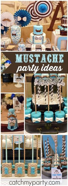 How fun is this turquoise and brown mustache birthday party! See more party ideas at http://CatchMyParty.com! Little Man Birthday Party Ideas, Birthday Themes For Boys, Boy Birthday Parties, Baby Party, Birthday Ideas, Mustache Birthday, Baby Boy 1st Birthday, Mustache Party, Mustache Theme