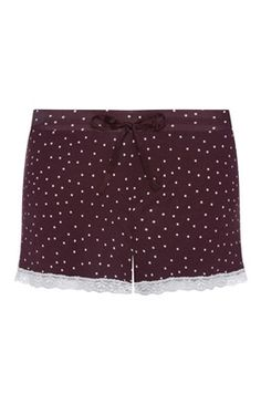 Burgundy Spot Lace Trim PJ Shorts