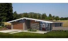 Eichler-inspired design by architect Robert Nebolon -- HousePlans.com 438-1