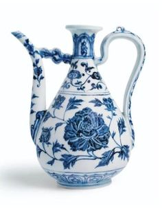 An extremely rare blue and white 'peony' ewer. Ming Dynasty, Yongle period. Photo Sotheby's