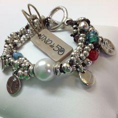 NWT Uno de 50 Silver Tone Beads Pearl & Charm Bracelet 7 /Comes w/Pouch
