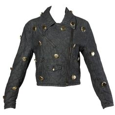 Preowned Moschino Vintage Quilted Denim Biker Jacket With Bottle Cap... ($675) ❤ liked on Polyvore featuring outerwear, jackets, black, moschino jacket, quilted moto jacket, moto jacket, denim moto jacket and motorcycle jacket