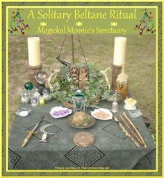 Solitary Beltane Ritual  Preparations  For decorations, use a vase of fresh flowers and daisies, red and white streamers, and regular altar tools. Include a wicker basket, an herb sacred to the Goddess, an herb sacred to the God, and a 3ft white ribbon.
