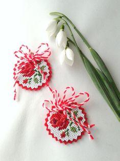 Baba Marta, Cross Stitch Beginner, Talisman, Stork, Sewing Crafts, Crochet Earrings, Traditional, How To Make, Handmade