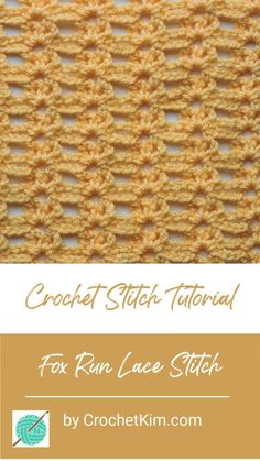 crochet stitches tutorial Fox Run Crochet Lace Stitch. Perfect for a Scarf, Wrap, Sweater, Lace Top and more! Now available with a printable Pattern Card. Take a gorgeous lace stitch pattern and make your own DIY crochet project! Crochet Stitches Free, Crochet Lace Edging, Crochet Mandala, Tunisian Crochet, Crochet Shawl, Crochet Hooks, Free Crochet, Knitting Stitches, Crochet Fox