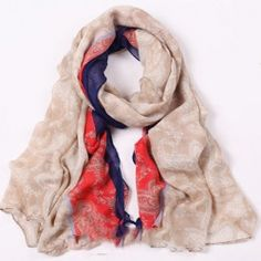 Bohemia Vintage Style Two-Toned Flower Pattern Transparent Scarf For Women