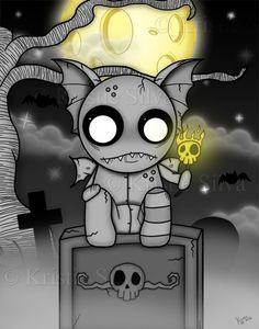 "The NightWatcher - New digital painting ""The NightWatcher"" - a strangeling gargoyle watching over the cemetery at night. #strangelings #strangelingsfactory #littlebitcreepie #strange #monster #creature #voodoo #voodoodoll #gargoyle #stone #tombstones #graves #skulls #digitalart #digitalpainting #digital #art #painting #lowbrow #lowbrowart #bigeyes #bigeyedart #kristiesilva #gothicart #drawing #gothart #gothic #goth #dark #creepy #spooky"