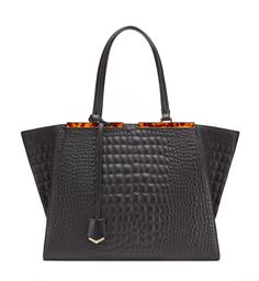 3JOURS Black 3Jours calfskin shopping bag with quilted croc effect, detachable shoulder strap, name tag and tortuase Plexiglas details. Made in Italy   Product code: 8BH272_W7N_KUR Suggested price $2,950.00