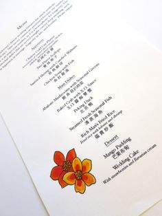 The menu for this California wedding featured English and Chinese text.