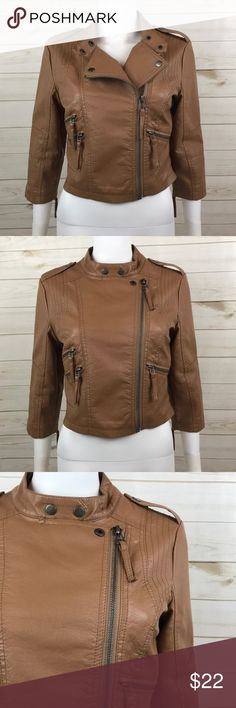 "<Ali & Kris> Vegan Bomber Moto Jacket Faux Leather Ali & Kris faux-leather caramel tan brown moto cropped jacket with zipper pockets and snap collar.  Very good used condition; there was a tear in the lining of shoulder of one arm that I repaired. Priced to reflect repair! This doesn't effect the wear of the jacket or the outside of it at all.  MEASUREMENTS: Armpit to armpit - 17.5"" Length shoulder to hem - 19"" Shoulder to shoulder - 15.5"" Sleeves shoulder to hem - 17.5"" Ali & Kris Jackets…"