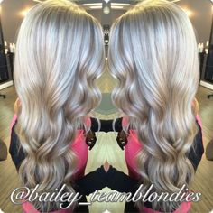 Beautiful platinum blonde with warm beige lowlights, curled with flat iron for a lovely wave! Call for appointment or free consultation 864-226-3030 or 864-934-3300 - Searching for Photos ?   TOOVIA