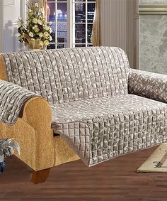 Loving this Natural Leaf Reversible Quilted Love Seat Slipcover on #zulily! #zulilyfinds. $24.99