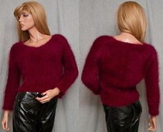 80% ANGORA SUPER FUZZY FLUFFY FURRY SOFT SWEATER PINUP BOMBSHELL EXPRESS CROPPED MEDIUM