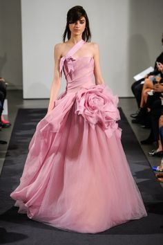 Blush ball gown with statement couture flower at hip.  Vera Wang FW14 Dress 2