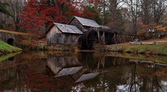 Mabry Mill - See more of the best places to photograph in VA at http://loadedlandscapes.com/va-locations/  // Photo by ForestWander.com - https://commons.wikimedia.org/wiki/File:Autumn-reflection-mabry-mill_-_Virginia_-_ForestWander.jpg