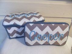 Custom Gray Chevron Large and Travel Wipes Case Set (You Pick Accent Color) on Etsy, $26.00