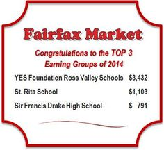 Congrats to our Fairfax Market top groups for 2014 and thank you to Fairfax Market for being such a great merchant partner!  #fundraising #donations