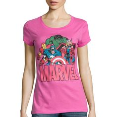 Short-Sleeve Marvel Graphic T-Shirt ($13) ❤ liked on Polyvore featuring tops, t-shirts, pink graphic tee, crewneck tee, short sleeve t shirt, crewneck t-shirt y graphic tops