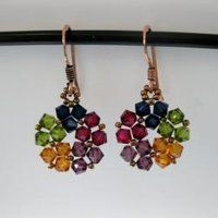 Shop for Handmade Goldtone Lovely Multicolor Crystal Earrings (USA). Get free delivery On EVERYTHING* Overstock - Your Online Jewelry Destination! Bead Earrings, Flower Earrings, Crystal Earrings, Opal Necklace, Jewelry Crafts, Handmade Jewelry, Unique Jewelry, Handmade Wire, Jewelry Ideas