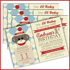 Sock Monkey Birthday Invitations Sock Monkey Invites by LullabyLoo Sock Monkey Party, Sock Monkey Birthday, Monkey Birthday Parties, 1st Birthday Party Themes, Baby 1st Birthday, Birthday Ideas, Man Birthday, Monkey Invitations, Party Invitations Kids