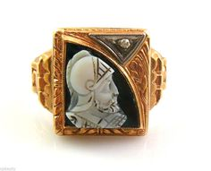 Vintage 1930s ART DECO 10K Gold Diamond & Hardstone Cameo WARRIOR Design RING