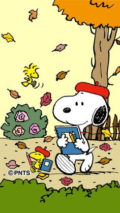 Off to art school! Snoopy and Woodstock