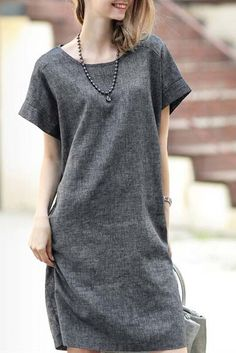 Vestido casual manga corta-gris 10.74