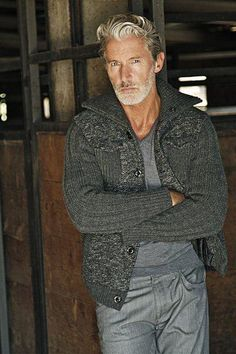 Seriously handsome man is a model named Aiden Shaw. He's a bit younger than . Seriously handsome man is a model named Aiden Shaw. He's a bit younger than I am, which frightens me. Stylish Men, Men Casual, Casual Styles, Aiden Shaw, Grey Hair Men, Gray Hair, Older Mens Fashion, Womens Fashion, Traje Casual