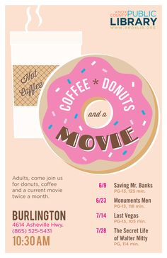 Coffee, Donuts & a Movie Poster, Burlington Branch Library | Kayti Tilson for Knox County Public Library