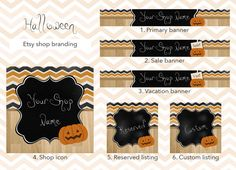 Etsy shop banner set, shop banner package, premade halloween banner set, halloween shop banner, shop graphics, shop icon banner, custom by GiuliaBelfioriGadget