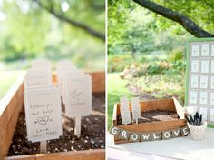 plant a seed and write a note on the seed marker in lieu of signing a guestbook (adorbs.)