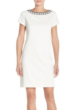Ellen Tracy Beaded Neck Ponte Sheath Dress available at #Nordstrom