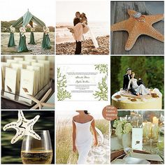 love the green and taupe color scheme of the fabric tent...and the dress...love this except the starfish and cake..