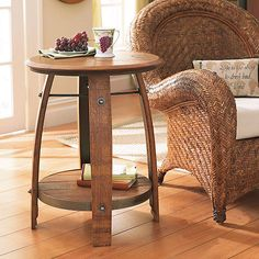 wine barrel end table. would look great with the barrel coffee table :) Wine Barrel End Table, Whiskey Barrel Coffee Table, Whiskey Barrel Furniture, Wine Barrel Furniture, Wine Table, Barrel Bar, Bourbon Barrel, Coffee Tables, Wine Barrel Crafts