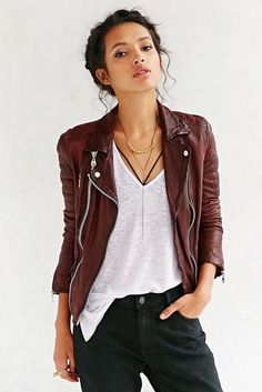 20 Looks with Leather Jackets Glamsugar.com Doma Oxblood Quilted Leather Jacket
