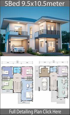 2 Storey House Design, Simple House Design, Bungalow House Design, House Front Design, Modern House Design, Two Story House Design, Duplex Design, Modern Bungalow, 5 Bedroom House Plans