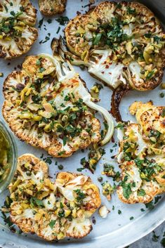 Cauliflower Steaks With Olive And Caper Salsa - Cook Republic #vegan #glutenfree